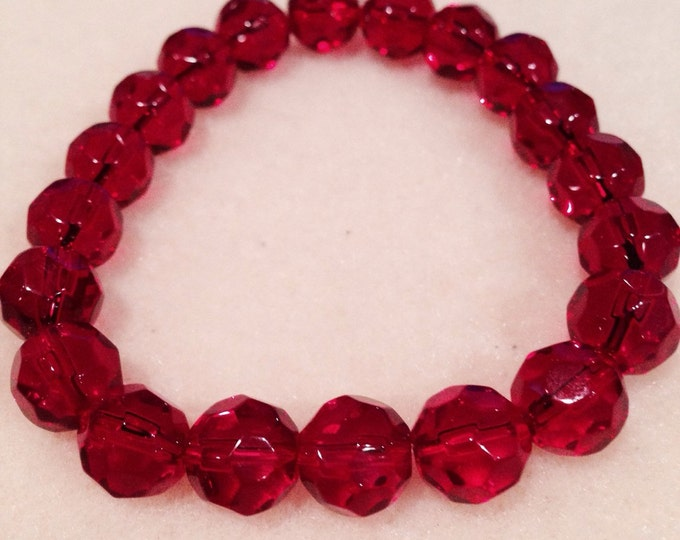 Ruby Red Faceted Crystal Glass Bead Stretch Bracelet with Sterling Silver Accent