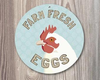 "Farm Fresh Eggs Sign 9"" Round - Mineral Blue SKU: SR9048"
