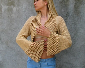 white coffee ...cream color...100% cotton... Crochet/knit  Shrug Bolero S/M