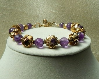 Amethyst bracelet,Amethyst gold bracelet,Valentine's gift,February Birthstone bracelet,cocktail bracelet,bridal bracelet,brithday gift