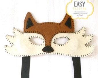 Felt Fox Mask Pattern, Fox Mask Sewing Pattern, Woodland Mask Pattern, DIY Fox Mask, Instant Download PDF