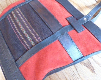 Beautiful Leather and Hand Woven Southwestern Bag/Purse/Travel Bag