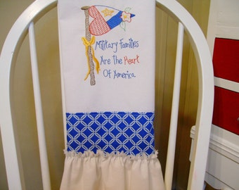 flour sack towel embroidered floursack towel military towel 4th of july towel ruffled towel