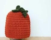 Pumpkin Hat, crochet, orange and hunter green, baby photo prop, Newborn to 12 Months