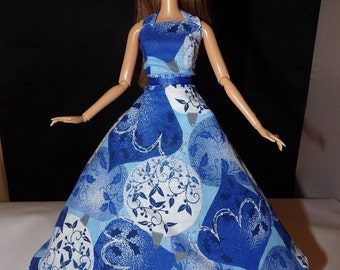 Blue, white & silver ball print formal dress with Tulle slip for Fashion Dolls - ed753