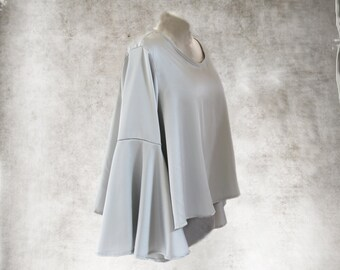 Trapeze top women/Gray blouse/Long sleeve shirt/Bell drape sleeve