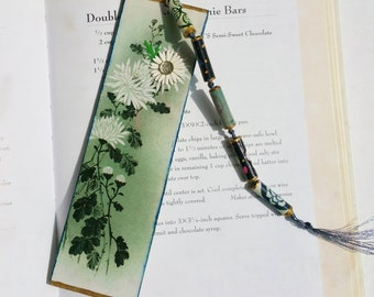 Bookmark, Handmade Japanese Floral Design Bookmark with Tassel, Book Lovers, Librarian Gift, Teacher Appreciation,  Gift for Her