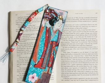 Bookmark, Japanese Woman Woodblock Design Handmade Bookmark with Tassel, Gift for Her, Book Lovers