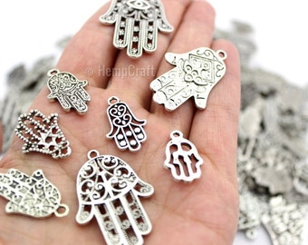 12 Antique Silver Finish Mixed Hamsa Hand Shaped Charms - Assorted Sizes - Lead-Free Zinc Alloy - Protection, Palm, Luck, Health, Fortune