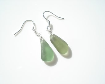 Sea Glass hook earrings of chartreuse green drops suspended from Sterling Silver hooks - E1357 - from Seaham,  UK