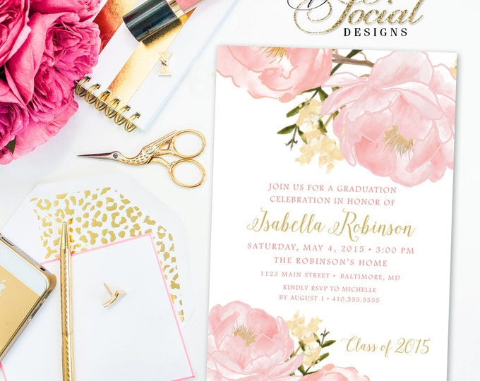 Garden Peony Floral Graduation Invitation - Peonies Invitation Blush Pink Graduation Party Celebration Invitation Printable DIY