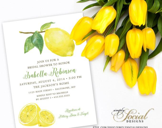 Lemon Bridal Shower Invitation Printable Fresh Squeezed Lemonade Main Squeeze