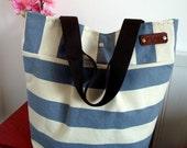 WATERPROOF Canvas Tote Bag Beach Bag Diaper Bag Navy Blue White Nautical Stripe Bag Shoulder Handbag 4 big Pockets