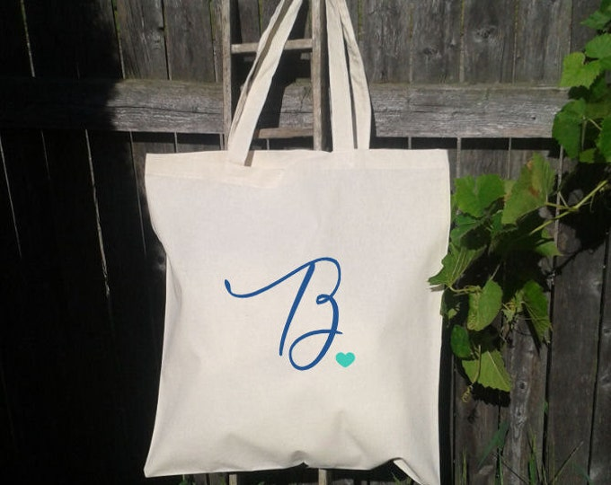 Bridesmaid Bridal Party Tote Bag, Customize with Initial, You choose colors