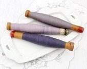 Vintage Textile Bobbins with Purple Threads, Rustic Home Decor