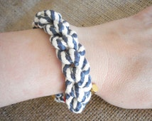 Nautical navy and white sailor knot bracelet, Nautical knot bracelet, Navy blue rope bracelet, Cotton rope jewelry, Gift for her.