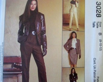 McCalls 3028 Womens 2000 Jacket & Blouse Skirt Pants Sewing Pattern Bust 31 to 34