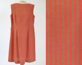 1960s Vintage Sleeveless Striped Shift Dress — Mod Orange/Brown Vertical Neon Stripes — Plus Size Dress (sz L 12 14)