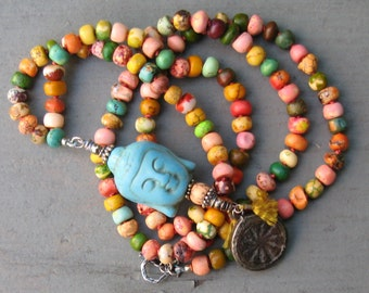Long Beaded Color BLAST Buddha Necklace - For Men or Women - FAB
