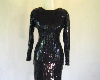 Shiny Black Sequin Wiggle Dress Diva Glam