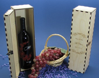 Elegant Personalized Wood Wedding Wine Gift Box with Hinges & Latch