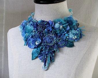 CORNFLOWER BLUE Beaded Textile Mixed Media Statement Necklace