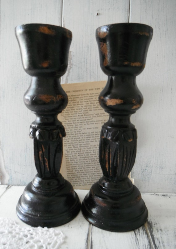 Rustic candle holders painted candle holders shabby by for Oxford turned wood candle holders