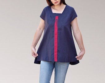 Linen Navy blue women Top/loose cut tunics/plus size/maxi tops/summer dresses