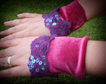 Pink wristlets, wrist cuffs, fabric velvet & lace bracelets for tribal fusion, carnival outfit, fairy costume or festival clothing