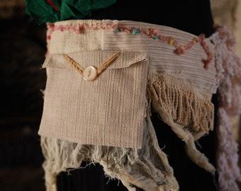 Pastel cream & peach festival pocket belt. Gypsy, tribal, rave, bohemian hip bag, Glastonbury, Burning Man