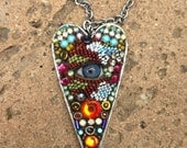 Large Eye Heart Pendant by Betsy Youngquist (blue)