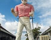 Roadside Attraction Giant Muffler Man Statue (Merced, California) - Fine Art Photograph. Road Trip Theme Decor