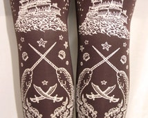 L Pirate Printed Tights Large White on Chocolate Brown Dark Women Tattoo Sailor Octopus Narwhal