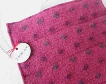 Wool Pot Holders Hot Pad PINK & GREEN Fair Isle Potholders Eco-Friendly Recycled Wool Hotpads by WormeWoole