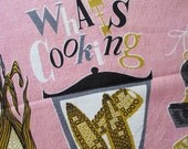 Pink corn. Vtg midcentury Lois Long linen kitchen towel / What's Cooking series pink / buttered corn
