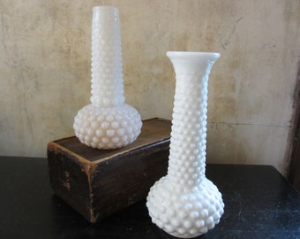 Pair of midcentury hobnail milk glass vases / flowers floral / wedding / decor decoration