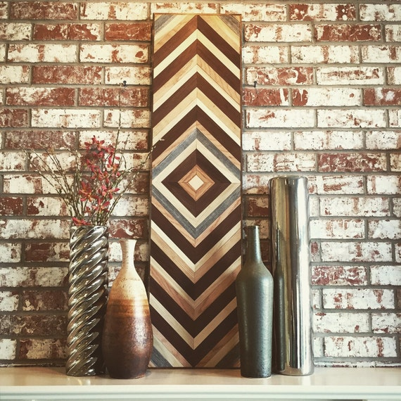 Wood Wall art - Chevron Reclaimed Wood Wall Art - Modern Wall Art