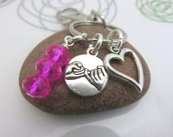Best Friends keychain - Pinky promise keychain - girlfriend keychain - pink crystal keychain - BFF keychain