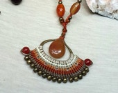 Micro macrame necklace - desert queen -with Carnelian beads and natural seed beads in gorgeous natural earthy brown colors