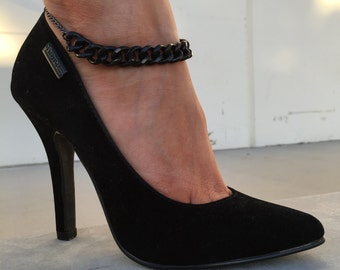 Black Thick & Thin Chain Anklet