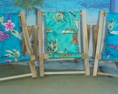 Large Turquoise Tropical Print Wood Cell Phone Chair Mamakohawaii