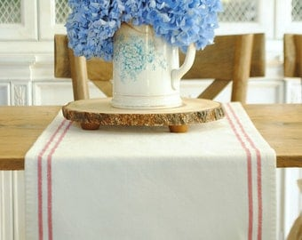 Farmhouse stripe table runner- red white and blue- small