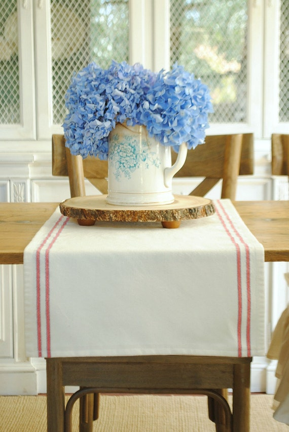 farmhouse stripe table runner red white and blue small