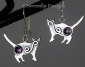 Sassy Silver Cat Earrings with Amethysts and Spirals, Sterling Silver Kitty Earrings, Silver Amethyst Cat Earrings, February Birthstone Cats