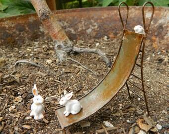 Fairy Garden Bunnies fairy garden accessories Miniature Slide with bunnies for terrarium or mini garden Furniture playground