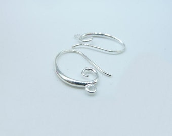 10pcs(5 pairs) 14x20mm Silver Plated Brass Earring Hook Earwires C1907