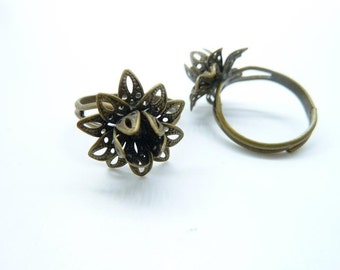 10pcs 17mm Antique Bronze Brass Flower Rings C7583