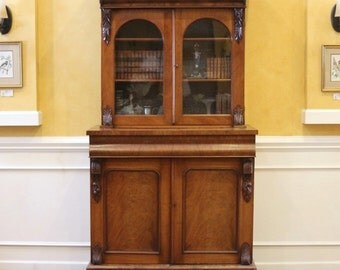 Antique Bookcase, English Victorian Mahogany.