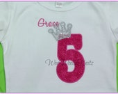 Girls Princess Birthday T Shirt or Bib Personalized Silver Sparkle Applique 1st 2nd 3rd Any Number or Letter