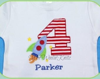 Personalized Rocket Ship Birthday T Shirt Bib Chevron Space Embroidered Girls Applique 1st 2nd 3rd Girls